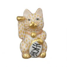 Herend Porcelain Fishnet Figurine of a Lucky Cat, Small